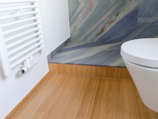 Bambus Stabparkett in Küche und Bad Bambus Komfort Parkett Moderne Badezimmer