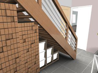 Rez de chaussée d'une maison individuelle L'Oeil DeCo Couloir, entrée, escaliers modernes