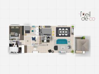 Appartement de 76 m² pour un homme seule et sa fille L'Oeil DeCo Salle à manger moderne