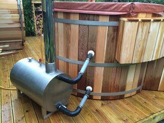 Wood Fired Cedar Hot Tub Cedar Hot Tubs UK Mediterranean style gardens