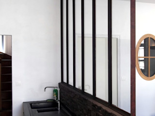 Kitchen separation in glass and steel Forge Art by A.T.R Cocinas de estilo industrial