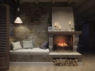 MJMarchdesign Rustic style living room