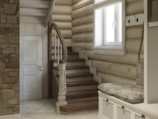 MJMarchdesign Rustic style corridor, hallway & stairs