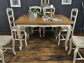 6 Seater Cream Extending Shabby Chic French Dining Set The Treasure Trove Shabby Chic & Vintage Furniture Dining roomTables Solid Wood Beige