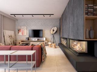 COI Pracownia Architektury Wnętrz Ruang Keluarga Gaya Industrial