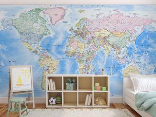 World Map Wallpaper Love Maps On Ltd. Dormitorios infantiles Accesorios y decoración