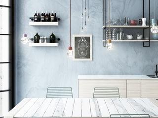 Progetto di ristrutturazione di casa privata GHINELLI ARCHITETTURA Cucina moderna Sintetico Blu