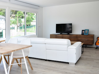 Casa prefabricada de 100 m2 - Casas Cube Casas Cube Salones de estilo moderno