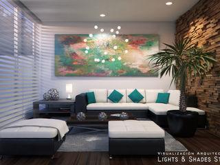 Living Room Lights & Shades Studios Ruang Keluarga Modern