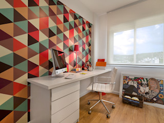 CR Arquitetura&paisagismo Modern study/office Synthetic Pink