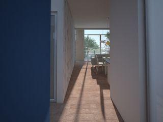 Axios Arquitectos Modern corridor, hallway & stairs