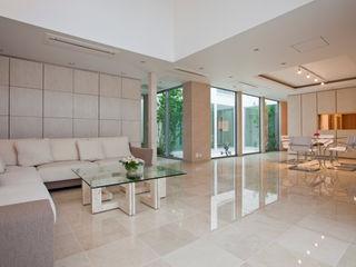 k邸 光庭を回遊し家族の気配が感じられる家 依田英和建築設計舎 モダンデザインの リビング