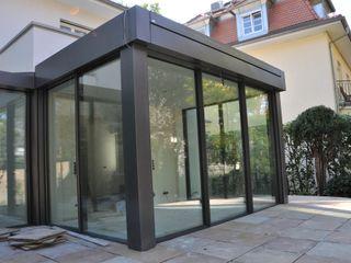 Anbau Glashaus ab exklusives Doppelhaus Metallbau Beilmann GmbH Minimalistischer Wintergarten
