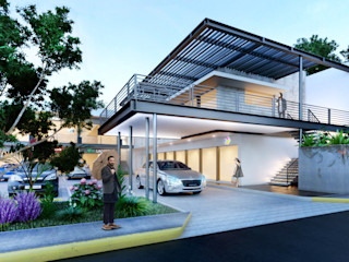 ANGOLO-grado arquitectónico Balcones y terrazas de estilo industrial Gris