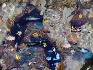 Treasure Underwater Vinyl Flooring Blue Butterfly Flooring Ванная комнатаДекор