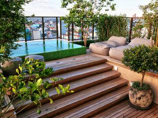 Tellini Vontobel Arquitetura Modern style balcony, porch & terrace