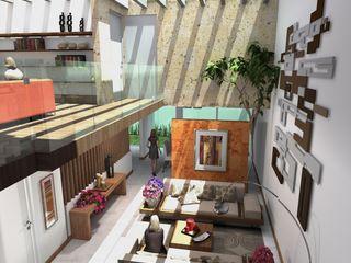 Milla Arquitectos S.A. de C.V. Salas de estilo minimalista Blanco