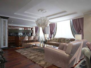 Проект квартиры в Саратове в стиле эклектики Студия авторского дизайна БОН ТОН Гостиные в эклектичном стиле Розовый