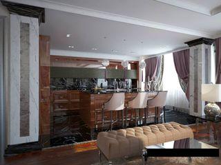 Проект квартиры в Саратове в стиле эклектики Студия авторского дизайна БОН ТОН Гостиные в эклектичном стиле