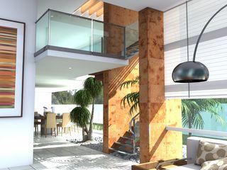 Milla Arquitectos S.A. de C.V. Pasillos, vestíbulos y escaleras de estilo minimalista Blanco
