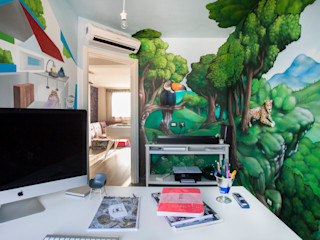 Alessandro Corina Interior Designer Ruang Studi/Kantor Gaya Mediteran