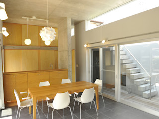 久安典之建築研究所 Ruang Makan Minimalis Ubin White
