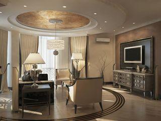 Проект квартиры в Краснодаре в стиле Эклектика Студия авторского дизайна БОН ТОН Гостиные в эклектичном стиле