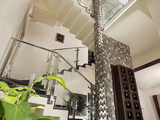 Sanskriti Architects Eclectic style corridor, hallway & stairs