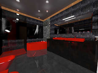 Nowa Droga W Standardach Baños de estilo moderno Rojo