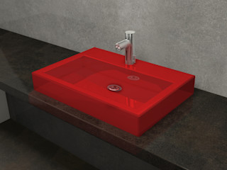 Nowa Droga W Standardach Baños de estilo moderno Cerámica Rojo