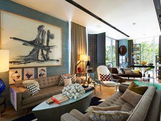 Family Chic Viterbo Interior design Salas de estar ecléticas