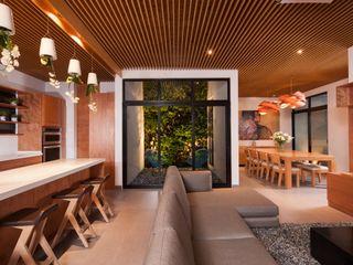LGZ Taller de arquitectura Ruang Keluarga Modern Kayu Wood effect