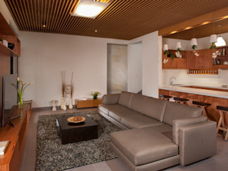 LGZ Taller de arquitectura Modern Living Room Textile Grey