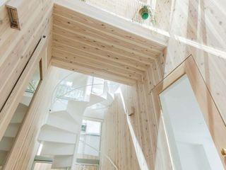 ディンプル建築設計事務所 Ingresso, Corridoio & Scale in stile moderno Legno massello Effetto legno