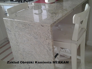 Merkam - Łódź ul. Św. Jerzego 9 キッチンカウンター 石 灰色