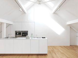 Fürst & Niedermaier, Architekten Cocinas modernas: Ideas, imágenes y decoración Madera Blanco