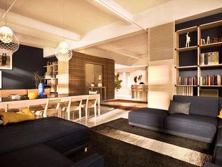 de-cube Moderne Wohnzimmer