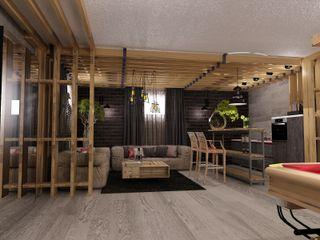 Студия дизайна Натали Хованской Industrial style gym Solid Wood Grey