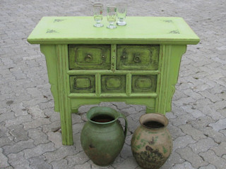 Tisch Antik & Kunst Nermesan Geschäftsräume & Stores Massivholz Grün