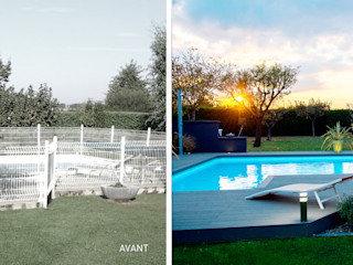 E/P ESPACE DESIGN - Emilie Peyrille Modern pool Wood-Plastic Composite Grey