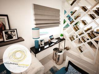 Andreia Louraço - Designer de Interiores (Email: andreialouraco@gmail.com) Salas de estilo moderno Derivados de madera Azul