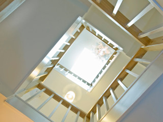 Renovated Siberian Larch Stairwell Research + Design Modern corridor, hallway & stairs