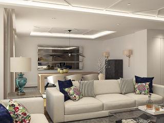 Salón atemporal Disak Studio Salones de estilo moderno Madera Blanco