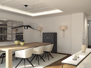 Salón atemporal Disak Studio Comedores de estilo moderno Madera Blanco