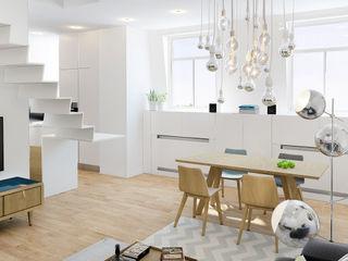ZR-architects Skandinavische Esszimmer Weiß