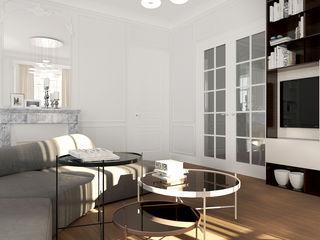ZR-architects Mediterrane Wohnzimmer Weiß