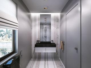 Bathrooms. USA KAPRANDESIGN Ванная комната в эклектичном стиле Камень Серый