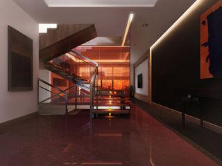 Kharkiv. Townhouse KAPRANDESIGN Коридор, прихожая и лестница в стиле минимализм Стекло Красный
