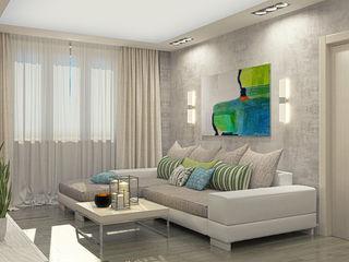 Alena Gorskaya Design Studio Modern living room White