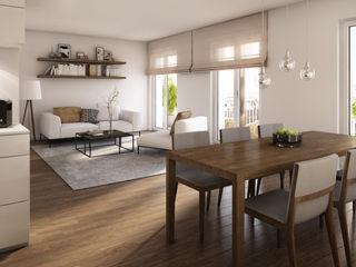 Wohnungen Bauträger 3D-Visualisierung winhard 3D Moderne Esszimmer